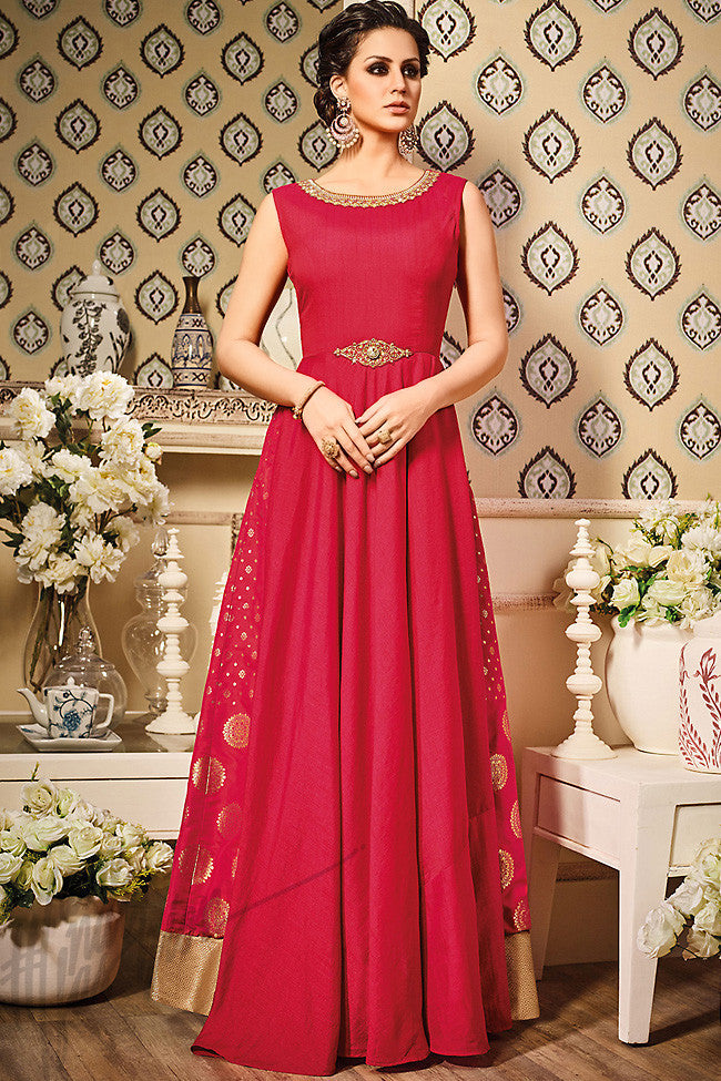 Indi Fashion Red Soft Net and Silk Gown Style Floor Length Suit