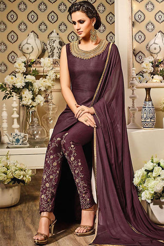 Indi Fashion Livid Brown Silk Gown Style Floor Length Suit