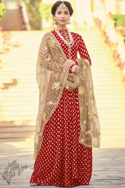 Red and Coffee Viscose Jacquard Floor Length Suit