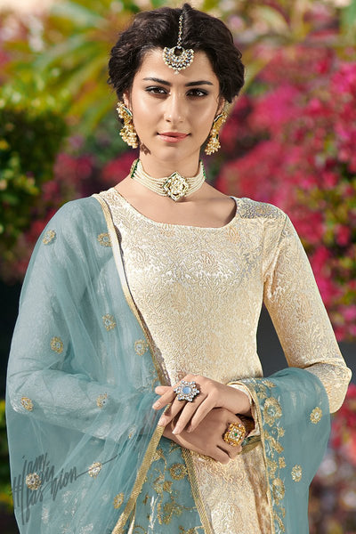 Cream and Light Blue Brocade jacquard Straight Suit