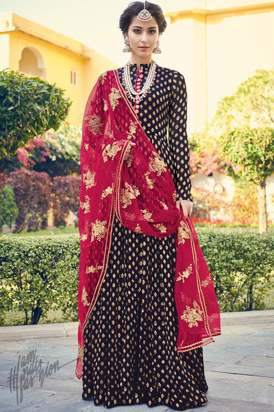 Midnight Blue and Red Viscose Jacquard Floor Length Suit
