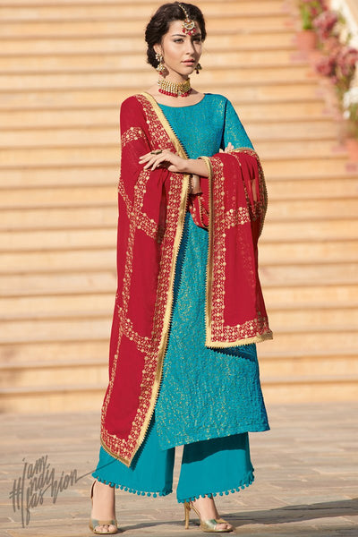 Blue and Red Brocade Jacquard Palazzo Suit