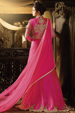 Indi Fashion Pink Silk Embroidered Party Wear Suit