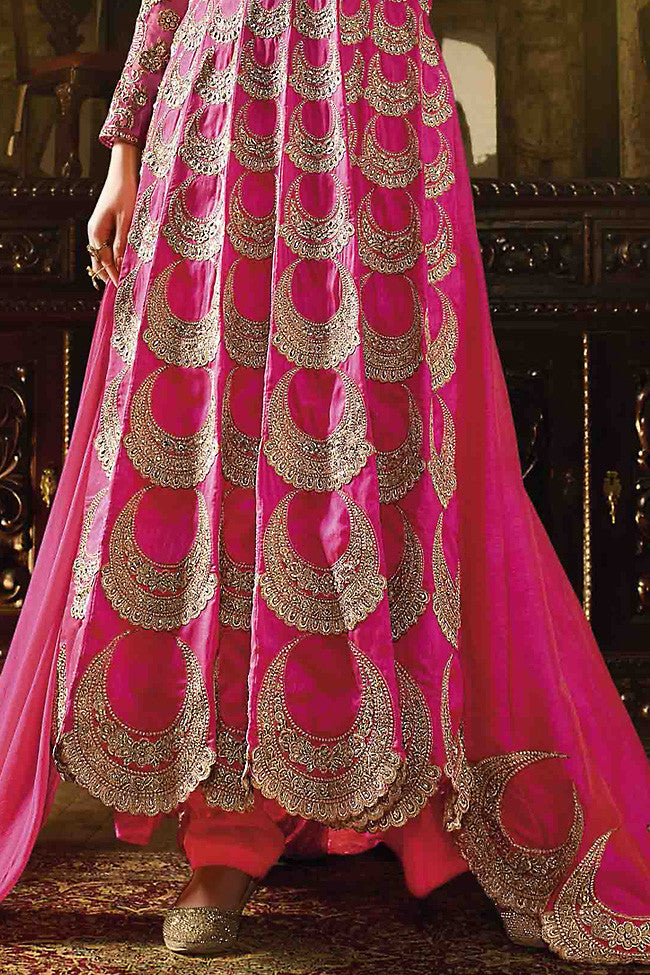 Buy Pink Silk Embroidered Party Wear Suit Online at indi.fashion