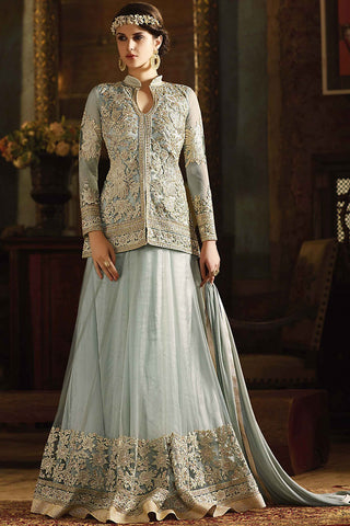 Indi Fashion Gray Net Jacket Style Party Wear Lehenga Set