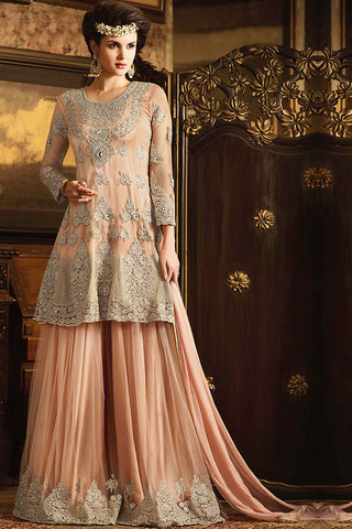 Indi Fashion Peach Net Embroidered Party Wear Palazzo Suit
