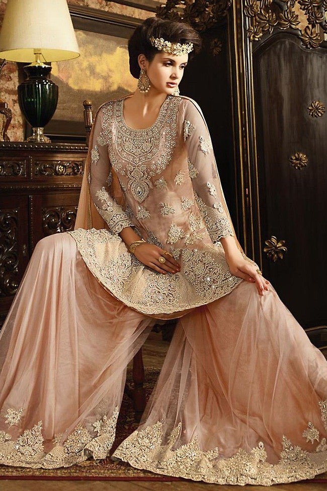 Buy Peach Net Embroidered Party Wear Palazzo Suit Online at indi.fashion
