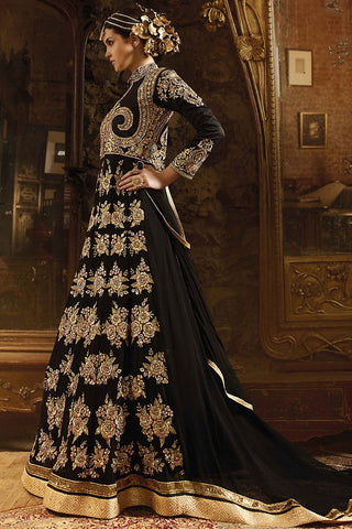 Indi Fashion Black Silk Embroidered Party Wear Suit