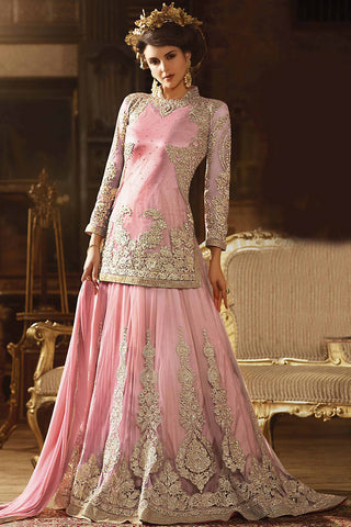 Indi Fashion Pink Net Jacket Style Party Wear Lehenga Set