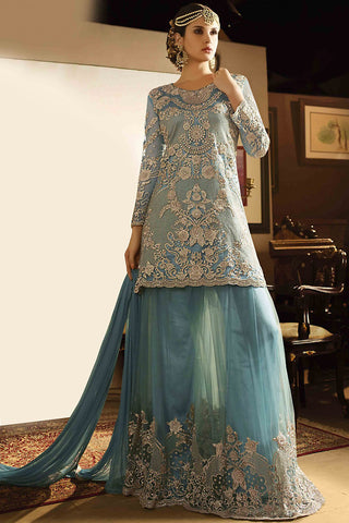 Indi Fashion Blue Net Embroidered Party Wear Palazzo Suit