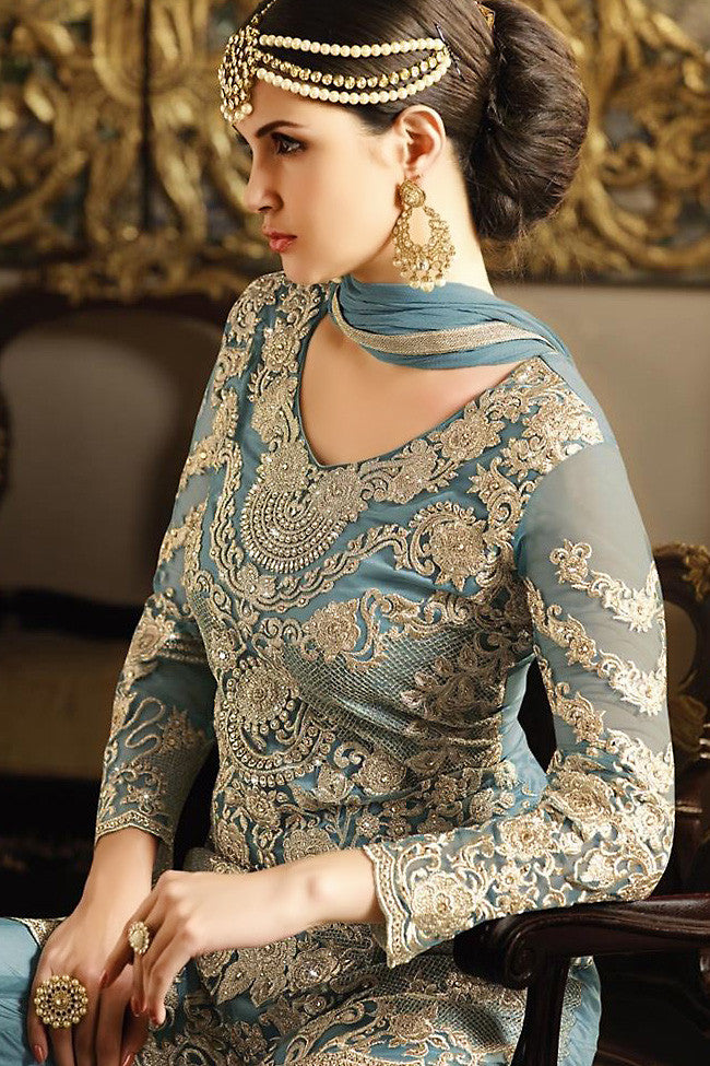 Buy Blue Net Embroidered Party Wear Palazzo Suit Online at indi.fashion
