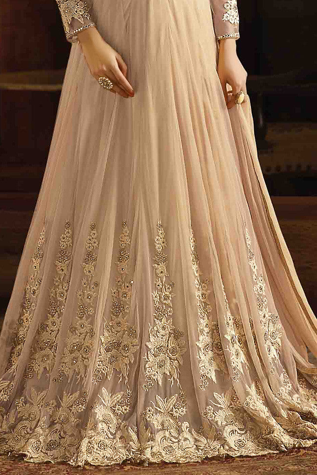 Indi Fashion Beige Net Embroidered Party Wear Suit