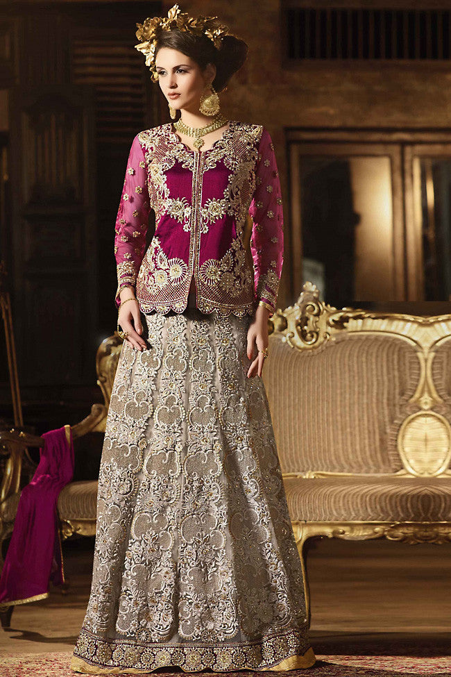 Buy Cherry and Silver Silk Jacket Style Party Wear Lehenga Set Online at indi.fashion