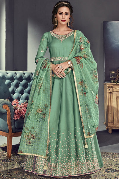 Sage Green Tussar Silk Party Wear Anarkali Suit