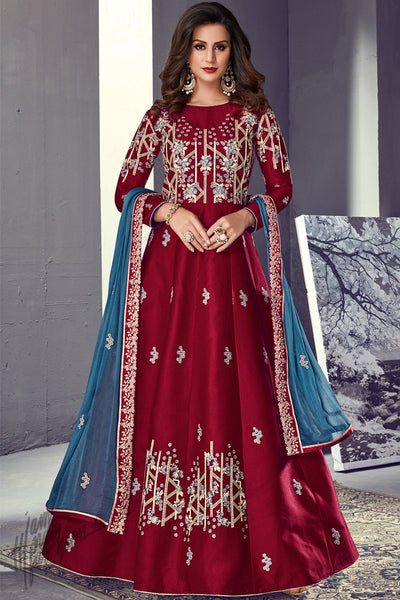 Current Red and Blue Tussar Silk Party Wear Anarkali Suit