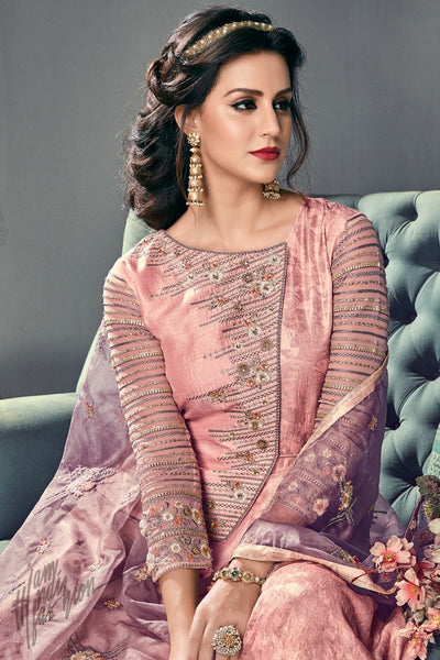 Salmon Pink and Mauve Tussar Silk Angrakha Style Anarkali Suit