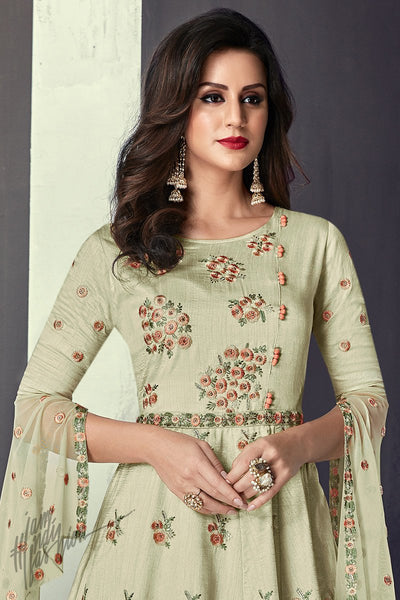 Light Green and Peach Tussar Silk Party Wear Anarkali Suit