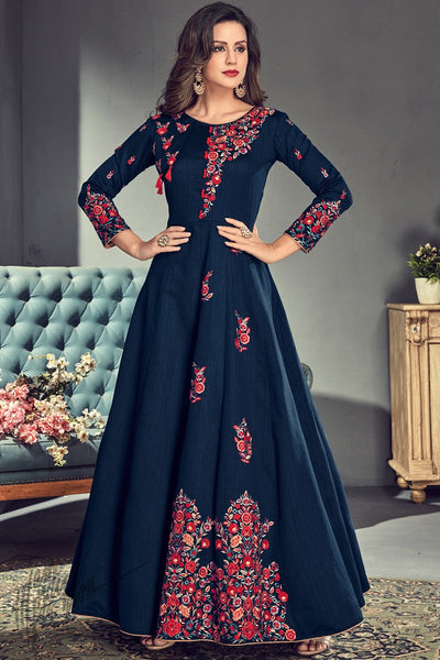 Denim Blue and Pink Tussar Silk Party Wear Anarkali Suit