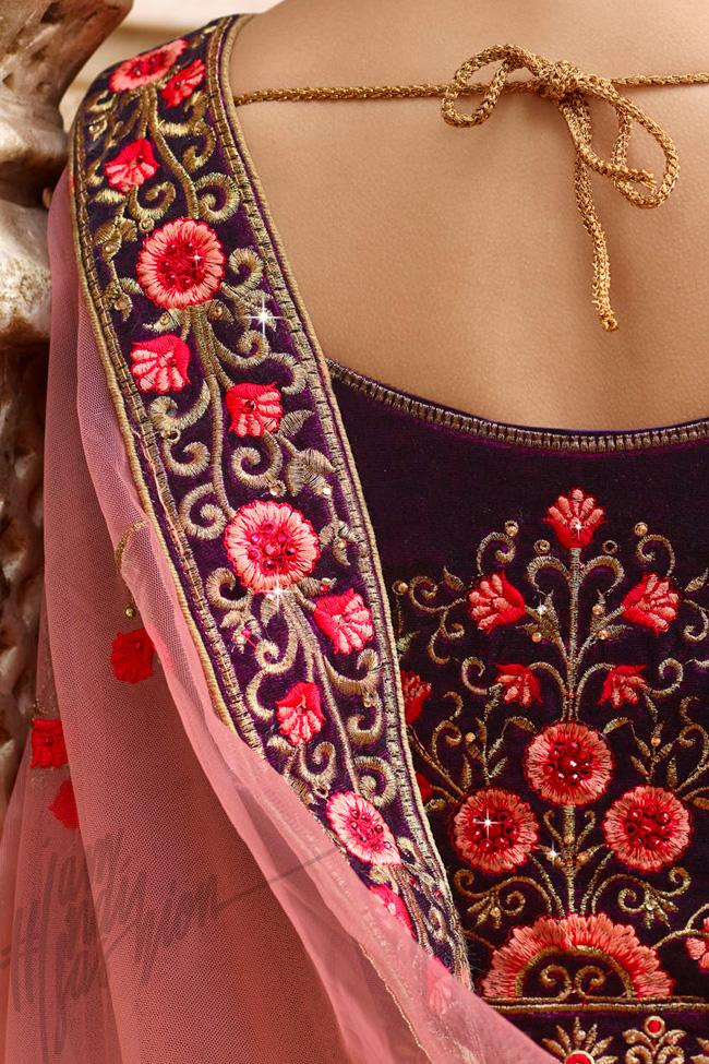 Indi Fashion Purple and Peach Velvet Lehenga Set