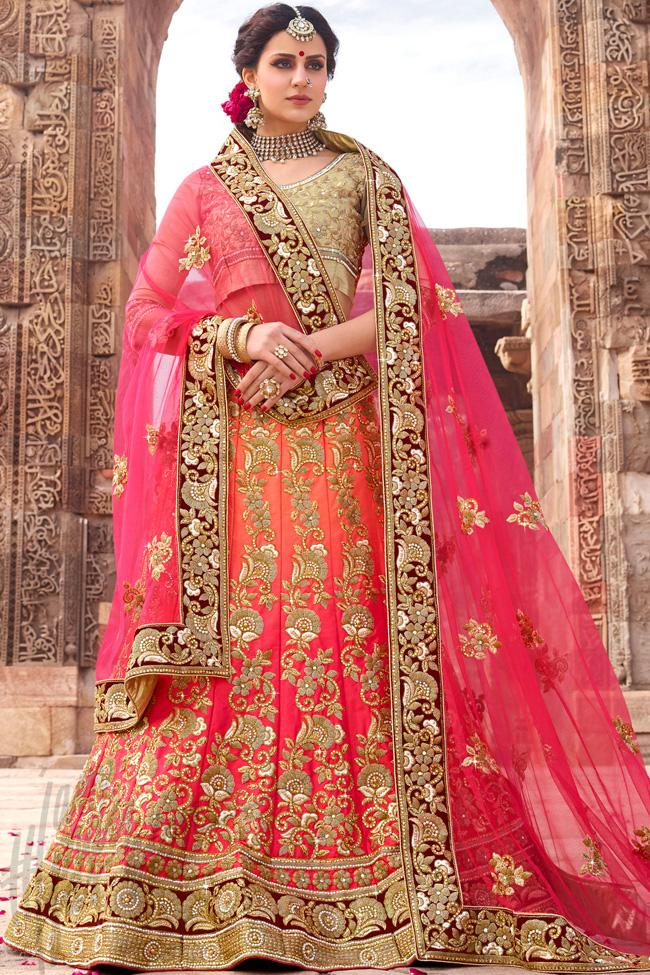 Indi Fashion Beige and Pink Ombre Silk Lehenga Set