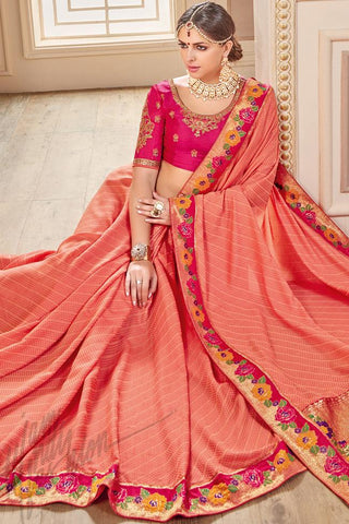 Indi Fashion Peach and Fuschia Pink Silk Party Wear Saree