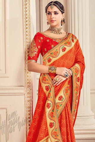 Indi Fashion Orange and Red Silk Party Wear Saree