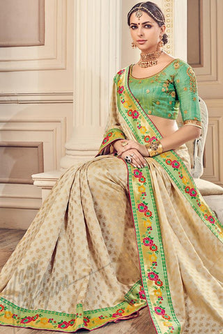 Indi Fashion Off White and Green Silk Party Wear Saree