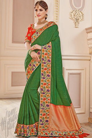 Indi Fashion Basil Green and Red Silk Party Wear Saree