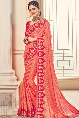 Indi Fashion Peach and Magenta Silk Party Wear Saree