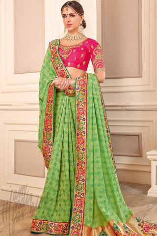 Indi Fashion Green and Hot Pink Silk Party Wear Saree
