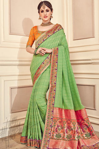 Indi Fashion Pastel Green and Mustard Yellow Silk Party Wear Saree