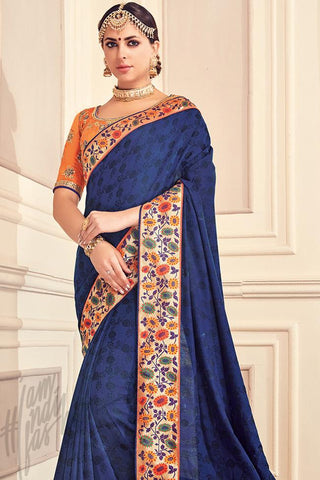 Indi Fashion Navy Blue and Orange Silk Party Wear Saree