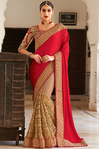 Indi Fashion Red and Beige Georgette and Dhupian Silk Embroidered Saree