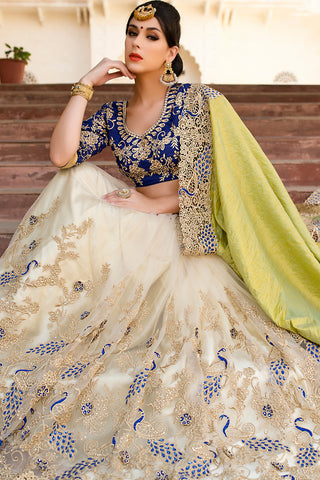 Indi Fashion Blue White and Olive Green Net and Dhupian Silk Embroidered Saree