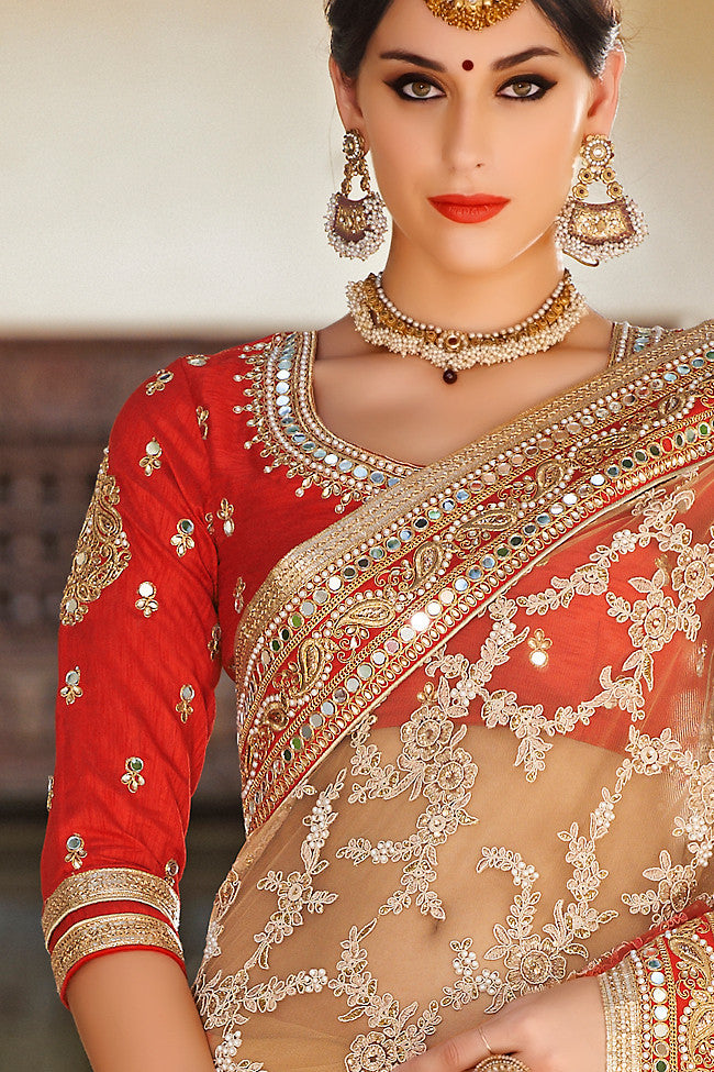 Beige and Orange Net and Dhupian Silk Embroidered Saree