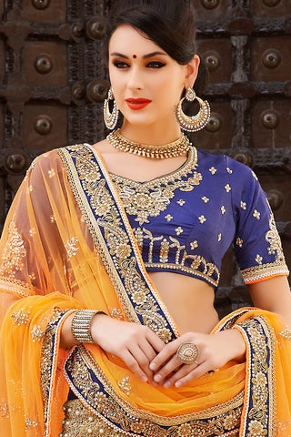 Indi Fashion Blue Beige and Yellow Net and Dhupian Silk Embroidered Lehenga Style Saree