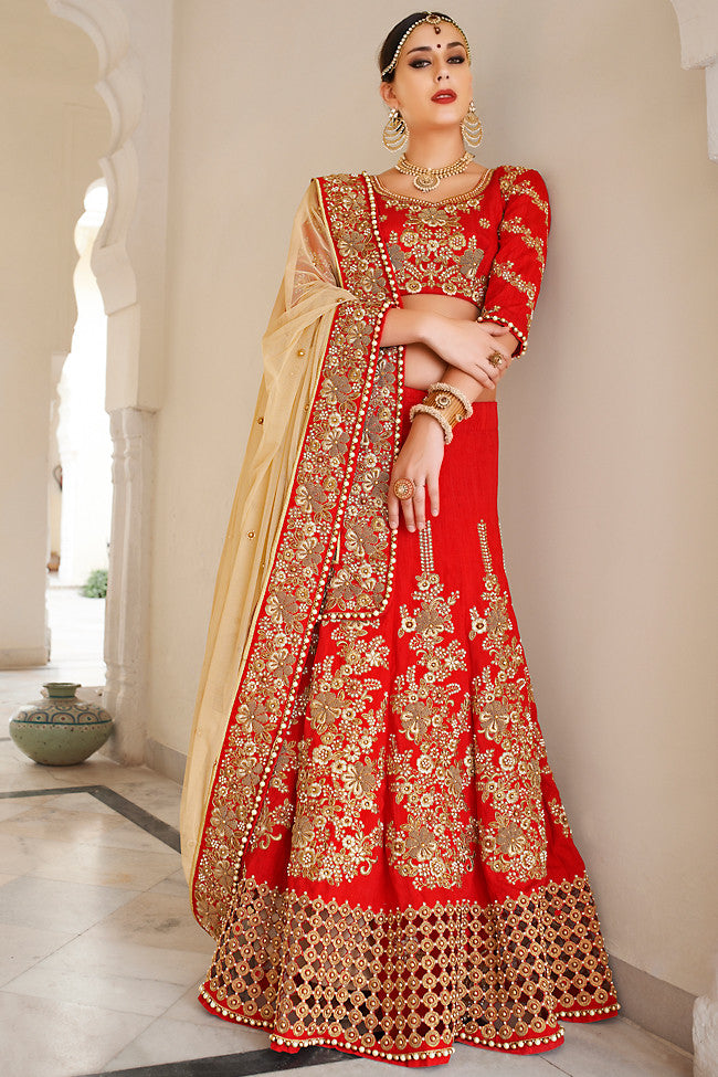 Indi Fashion Red and Beige Net and Dhupian Silk Embroidered Lehenga Style Saree