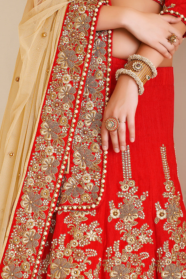 Red and Beige Net and Dhupian Silk Embroidered Lehenga Style Saree