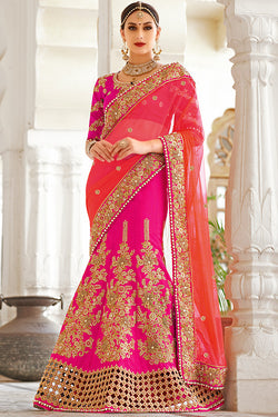 Indi Fashion Pink and Light Red Net and Dhupian Silk Embroidered Lehenga Style Saree