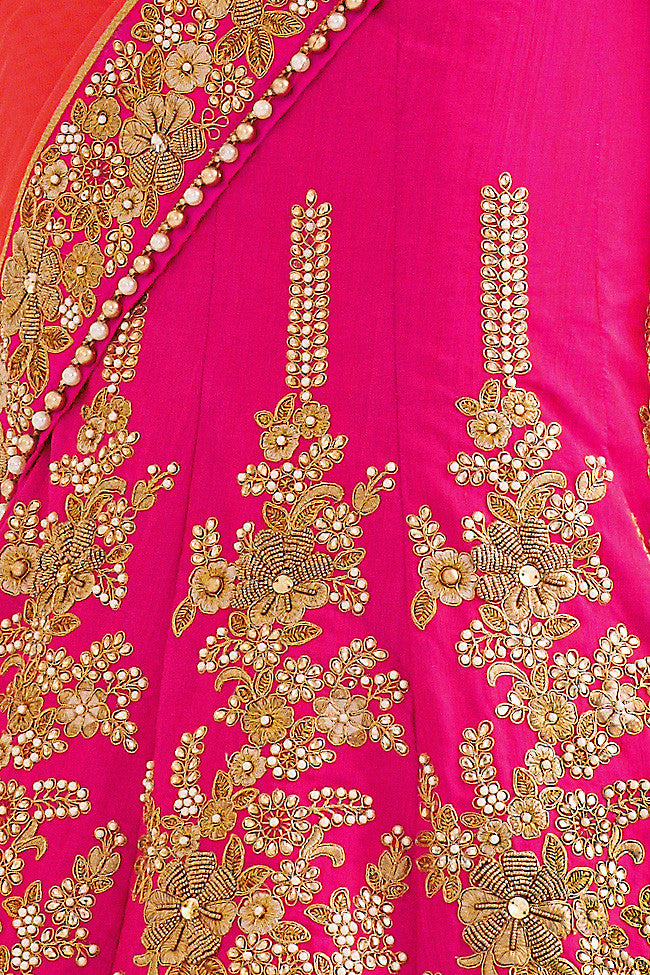 Pink and Light Red Net and Dhupian Silk Embroidered Lehenga Style Saree