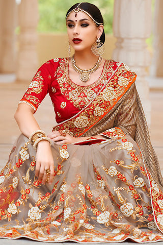 Indi Fashion Red and Beige Net and Dhupian Silk Embroidered Saree