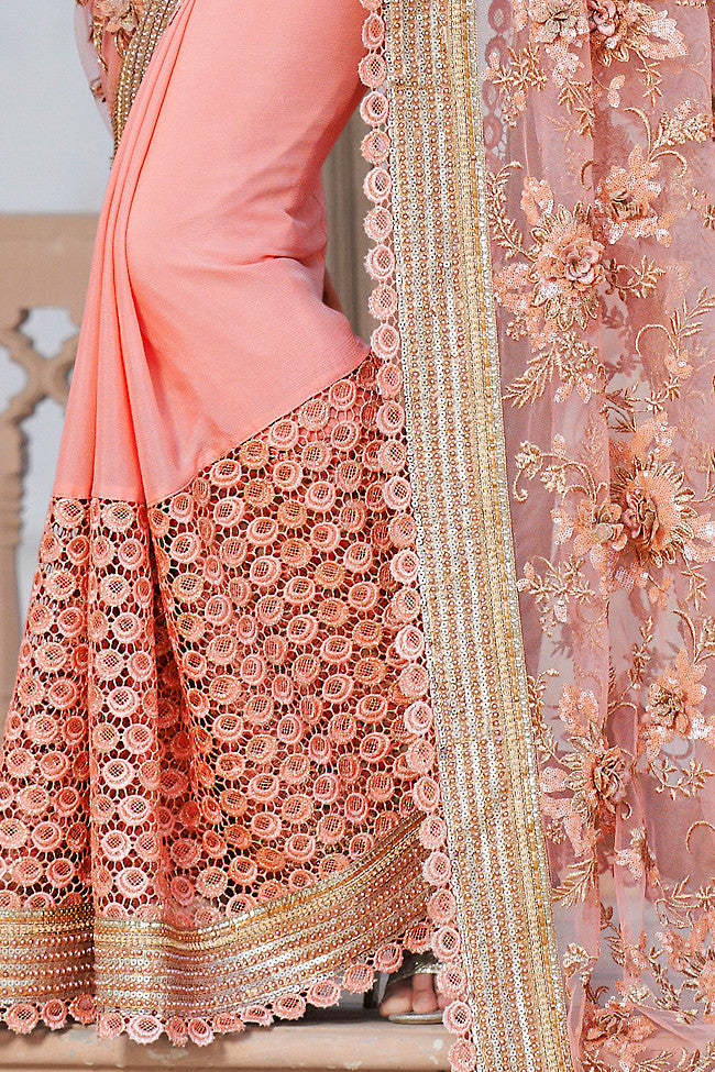 Buy Light Peach Net and Dhupian Silk Embroidered Saree Online at indi.fashion
