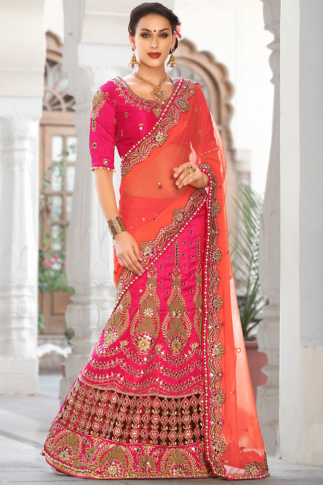 Indi Fashion Pink and Orange Net and Dhupian Silk Embroidered Lehenga Style Saree