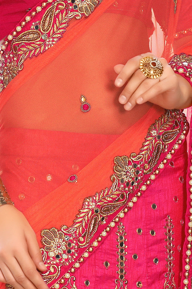 Pink and Orange Net and Dhupian Silk Embroidered Lehenga Style Saree