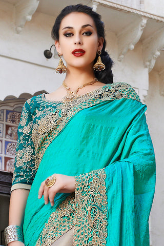 Indi Fashion Turquoise Blue and Beige Net and Dhupian Silk Embroidered Saree