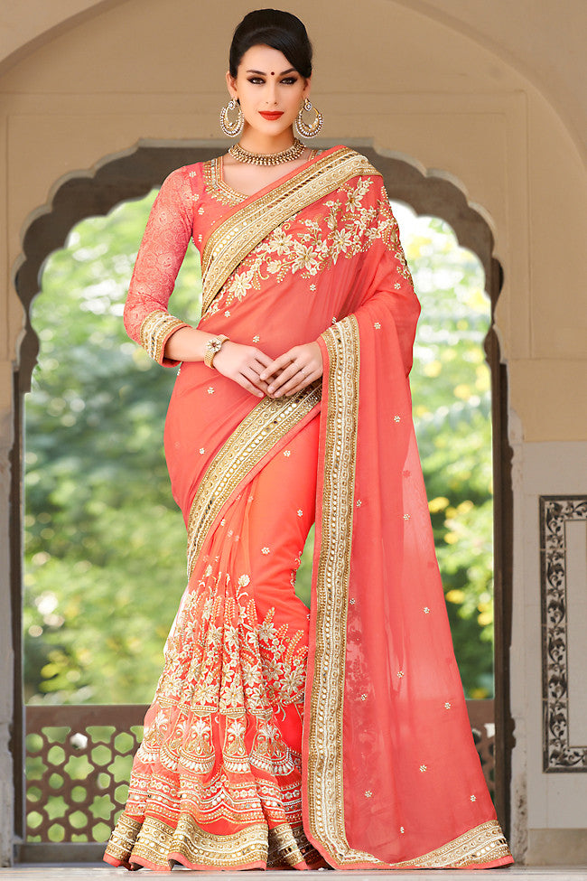 Indi Fashion Peach Net and Dhupian Silk Embroidered Saree