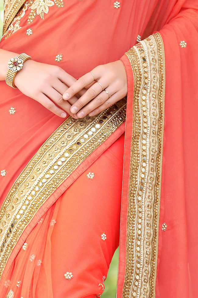 Peach Net and Dhupian Silk Embroidered Saree