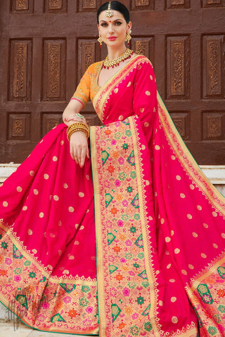 Orange and Red Banarasi Jacquard Silk Saree