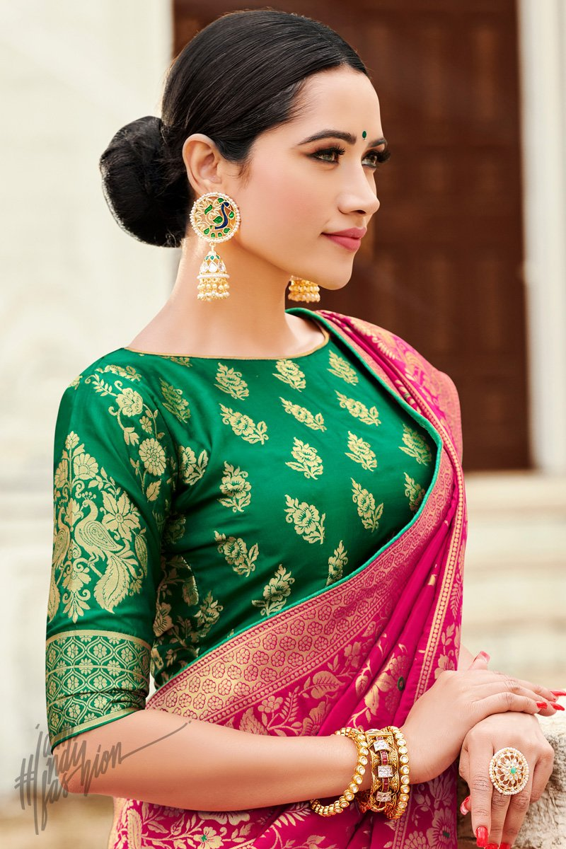 Green and Magenta Banarasi Jacquard Silk Saree