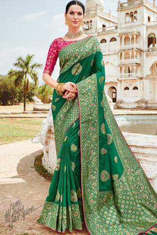 Rani Pink and Green Banarasi Jacquard Silk Saree